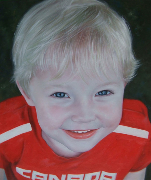 a custom oil portrait of blonde child with blue eyes