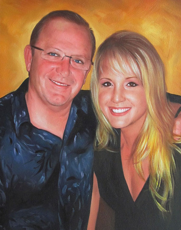 oil painting of a happy couple