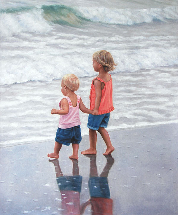 a custom oil painting of children by the sea