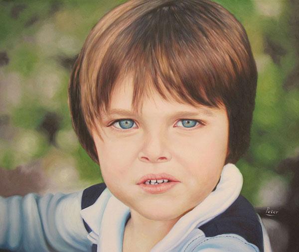 as custom oil portrait of a boy with green blue eyes