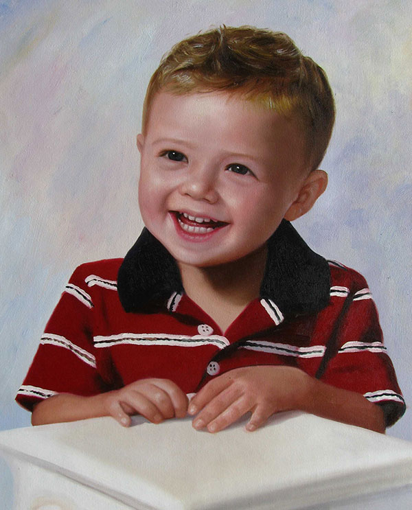a custom oil portrait of a boy smiling