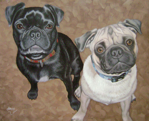 custom acrylic painting of two pugs