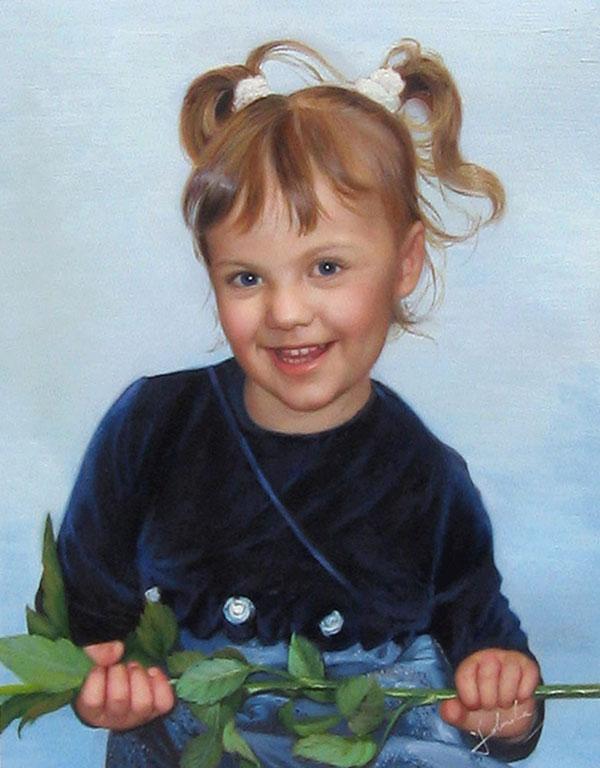 junges Mädchen in Öl gemalt