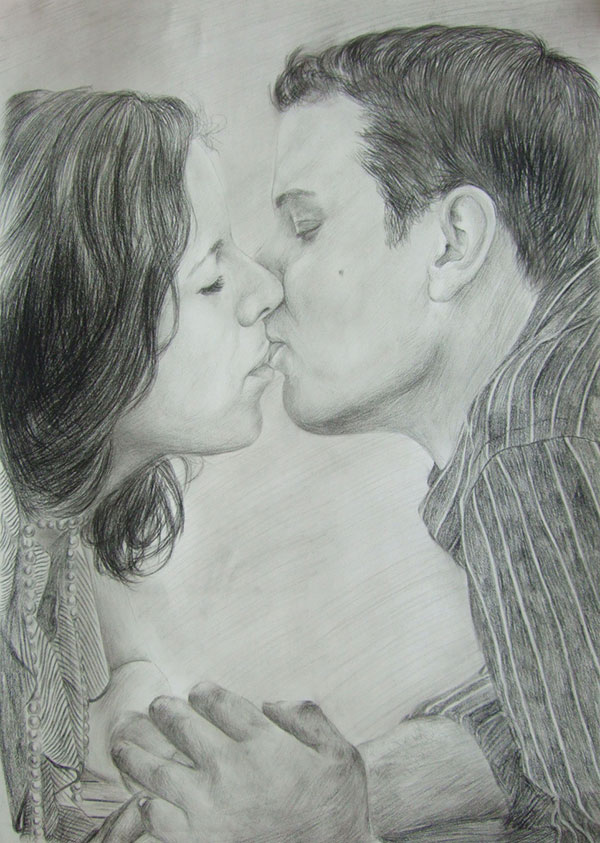 handmade charcoal drawing of a couple