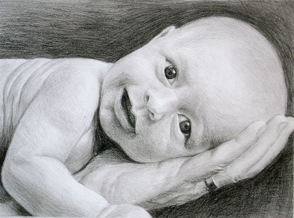 baby drawing black and white