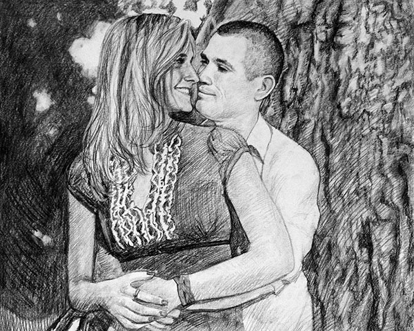 custom drawing of a couple