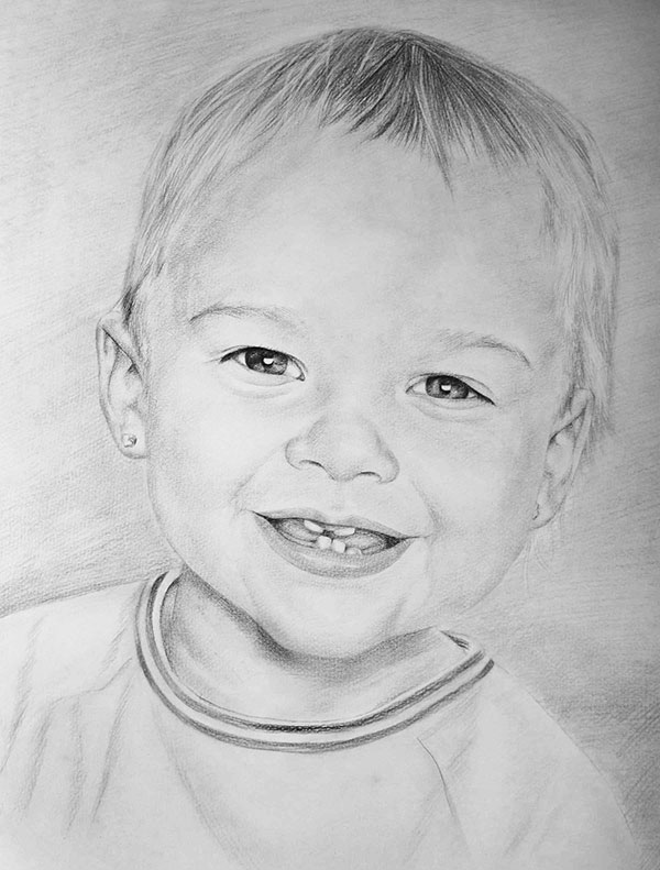 drawing of a boy in charcoal