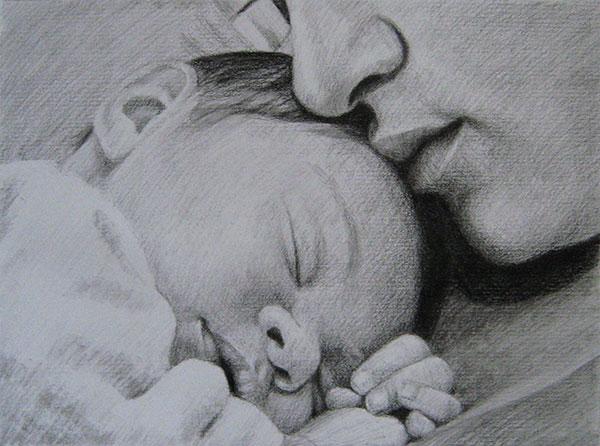 parent charcoal artwork