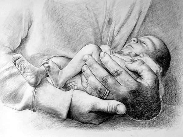 charcoal drawing of a baby