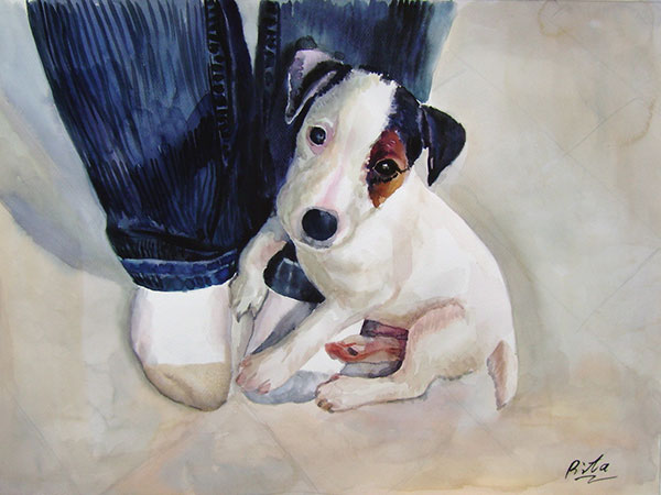 custom watercolor painting of puppy on owners foot
