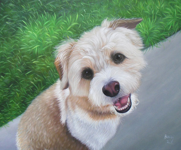 Handmade oil painting of a morkie smiling