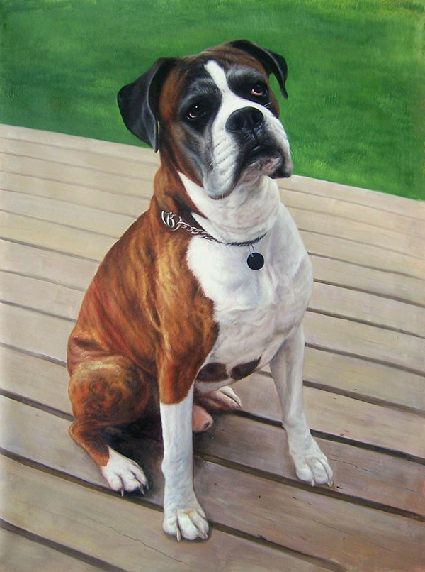 Handmade oil painting of a boxer on a porch