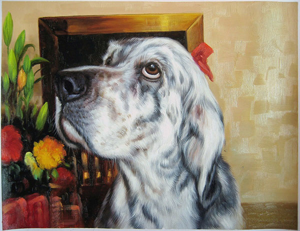 picture to painting oil portrait of dog English Setter