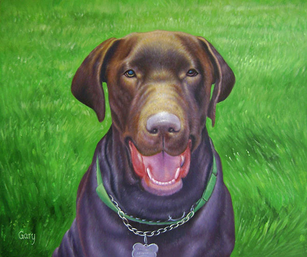 custom pet painting oil canvas brown labrador retriever