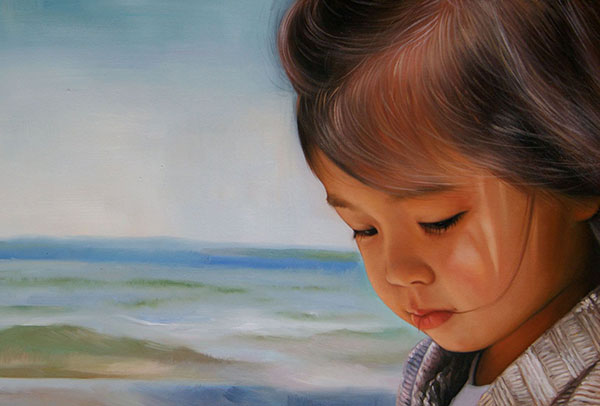 a custom oil painting of an young asian child at the beach
