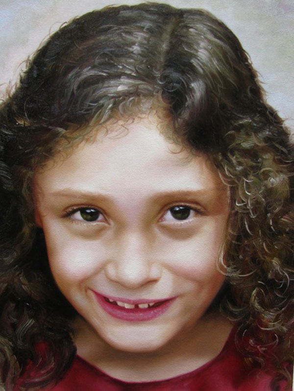 a custom oil painting of a girl with curly hair smiling
