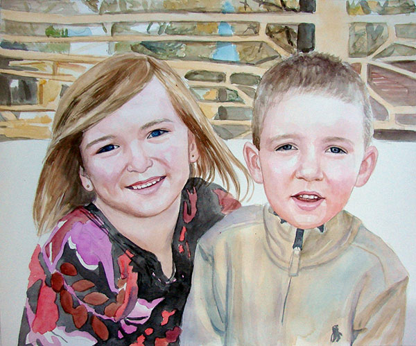 children watercolor portrait