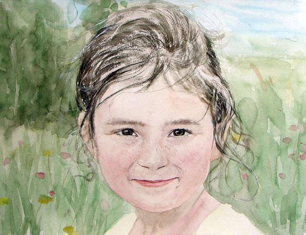 child portrait in watercolor