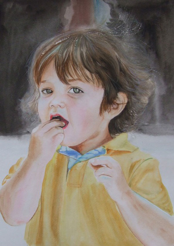 custom watercolor painting of child with green eyes eating