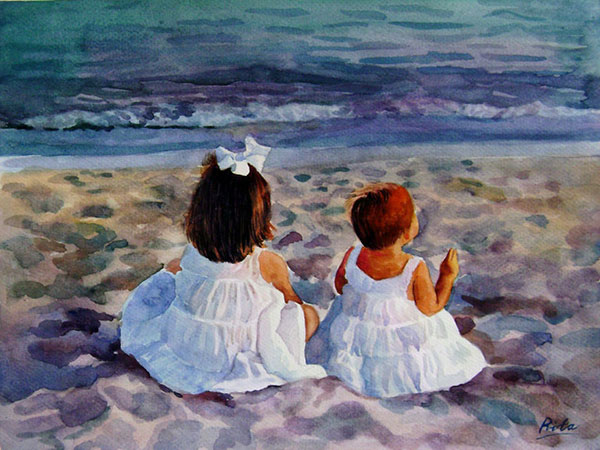 custom watercolor painting of two little girls by beach