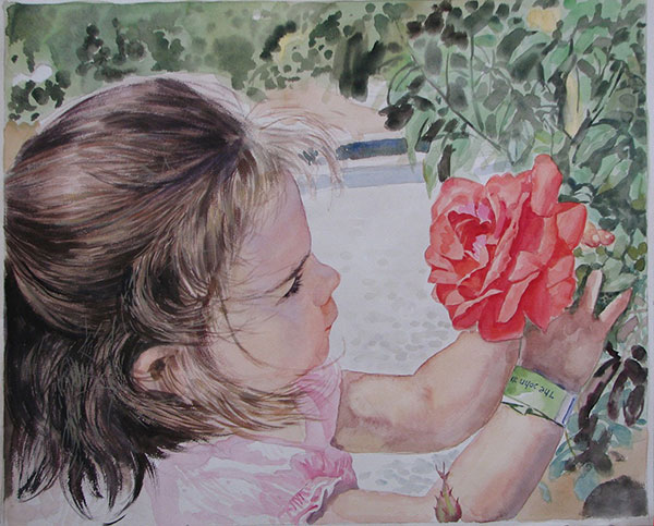 watercolor portrait of a girl looking at a red flower