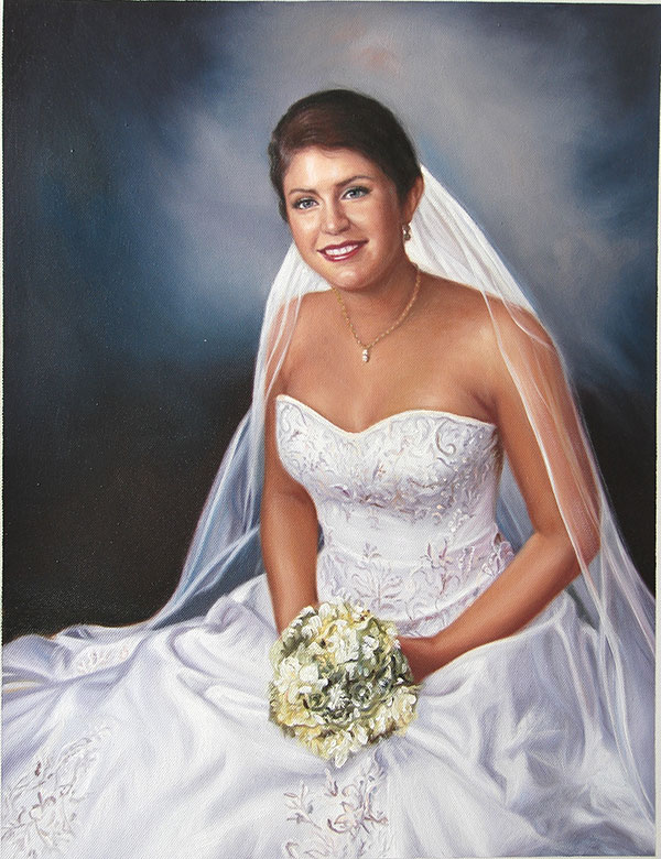 an oil painting of a bride in a beautiful dress