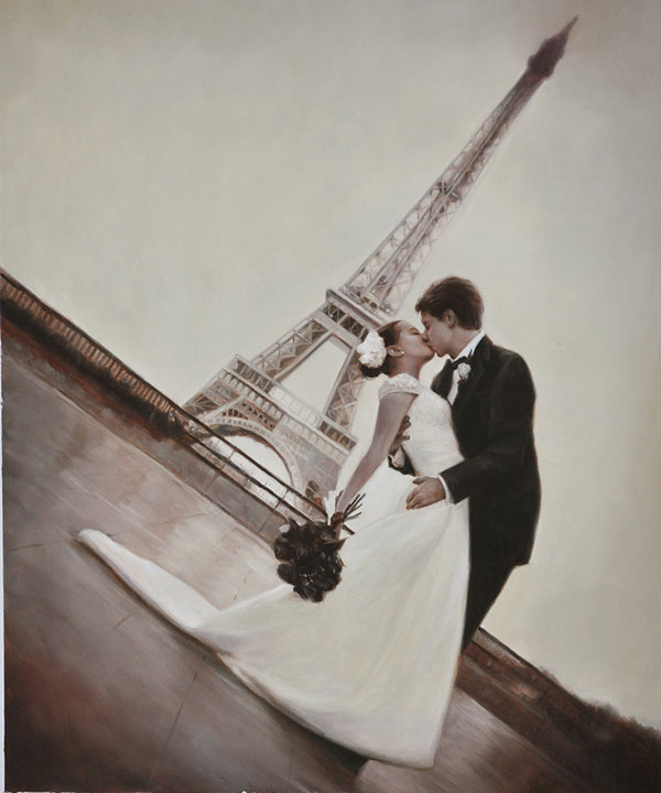 wedding portrait in oil - near Eifel tower