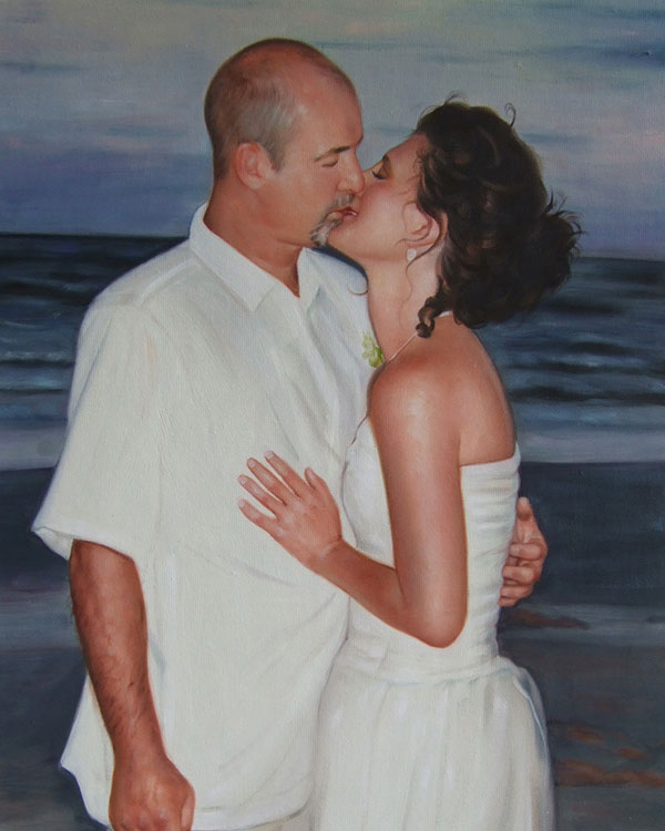 an oil painting of a wedding couple kissing by the sea