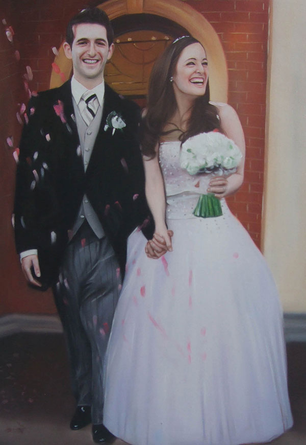 an oil painting of a happy wedding couple holding hands
