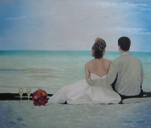 a custom oil painting of a wedding couple sitting at beach