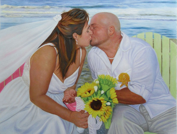 an oil painting of a wedding couple kissing at the beach