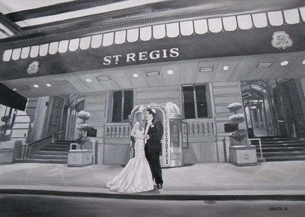 a black and white oil painting of wedding couple in hotel