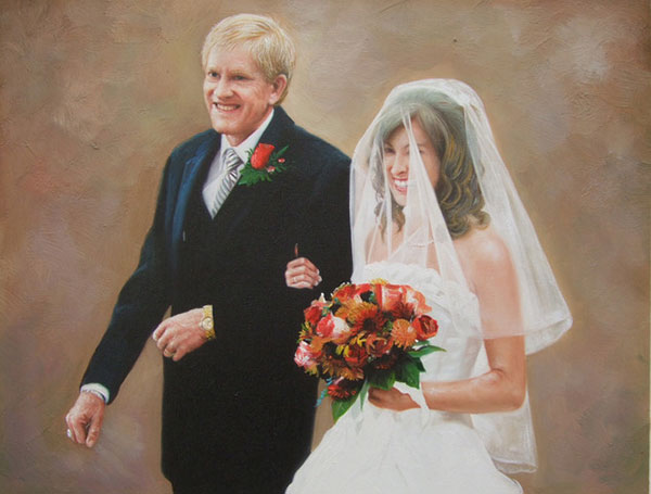 an oil painting of an elderly wedding couple