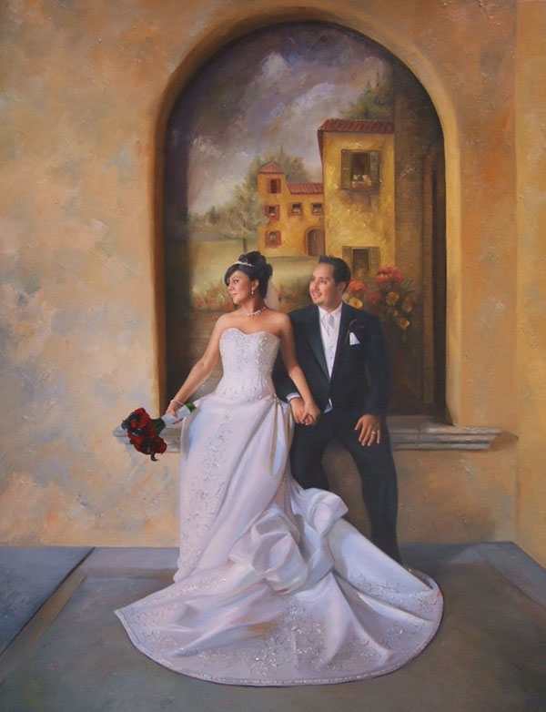 an oil painting of a wedding couple sitting by a painting