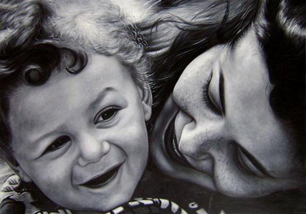 mamma e bambino olio da fotografia bianco e nero