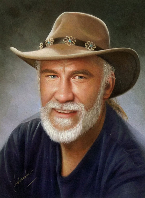 an oil painting of a man wearing cowboy hat