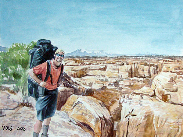 custom watercolor painting of hiker in the canyon