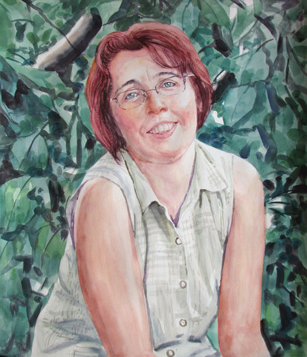 custom watercolor painting of woman with red hair in nature