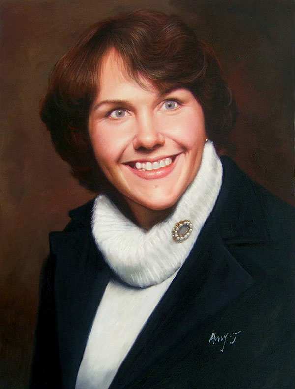a custom oil portrait of a woman with short hair smiling