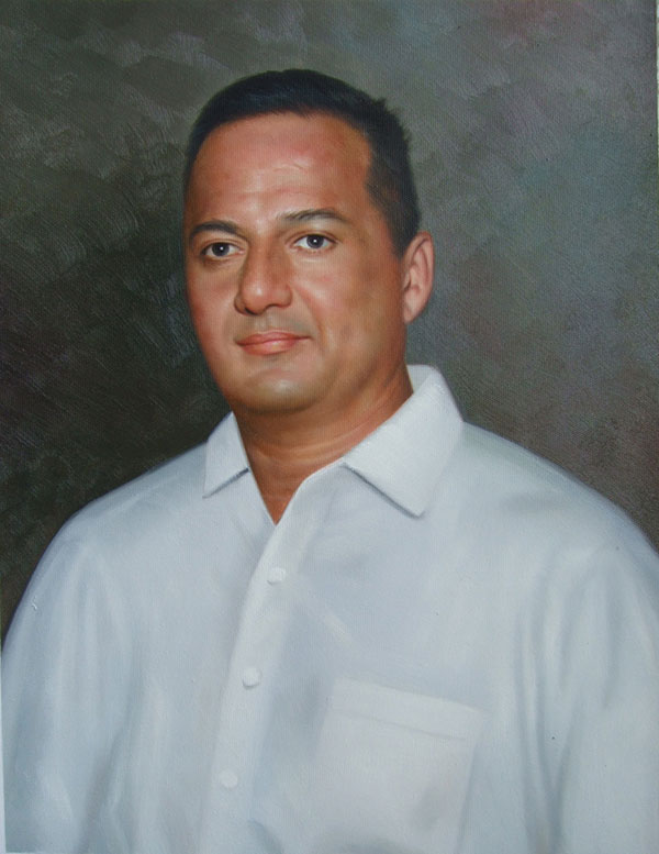 a custom oil painting of a man in white shirt