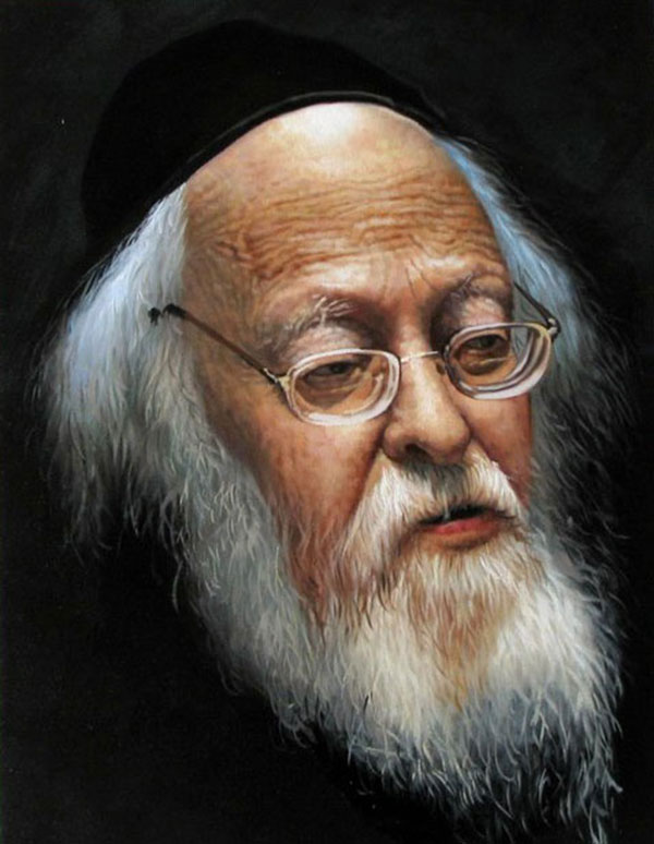 a custom oil painting of a jewish elderly man