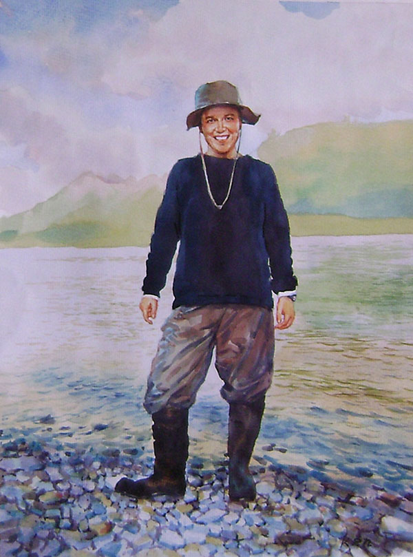 custom watercolor portrait of fisher by the lake