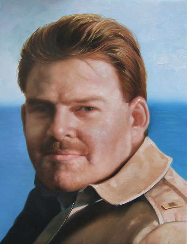 a custom oil painting of a man  with ginger hair