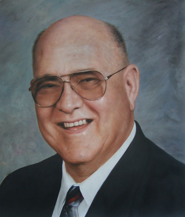 a custom oil painting of a bald man with glasses