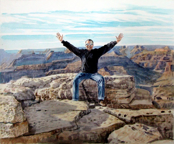 custom watercolor portrait of man in the canyon
