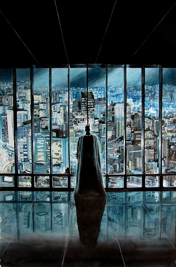 custom watercolor painting of Batman viewing the city