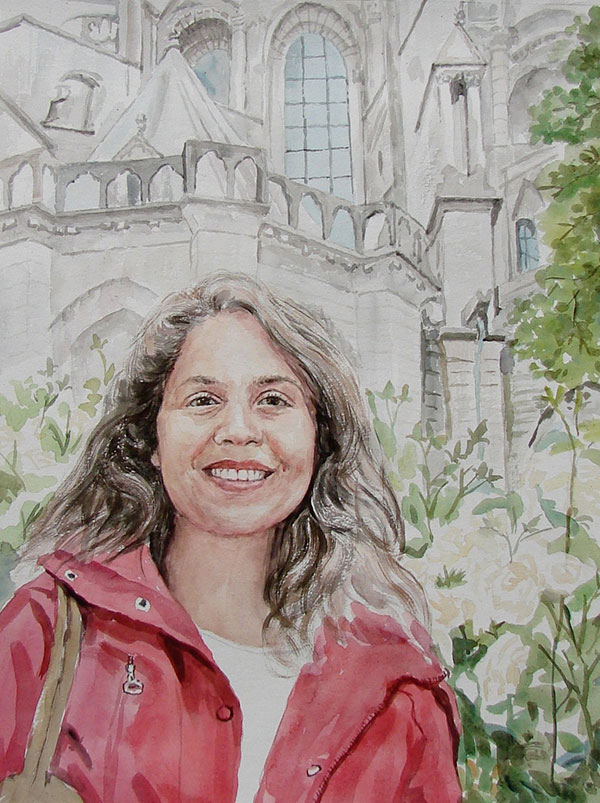custom watercolor painting of woman in front of house