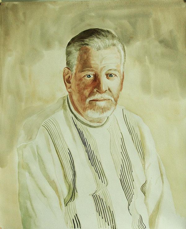 custom watercolor portrait of elder man with green eyes