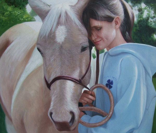 Cavallo e ragazza dipinto ad olio da fotografia
