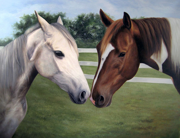 painting of multiple horses